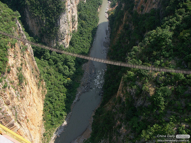 9. a huge footbridge built across the gorge to allow bridge workers access to bo.jpg